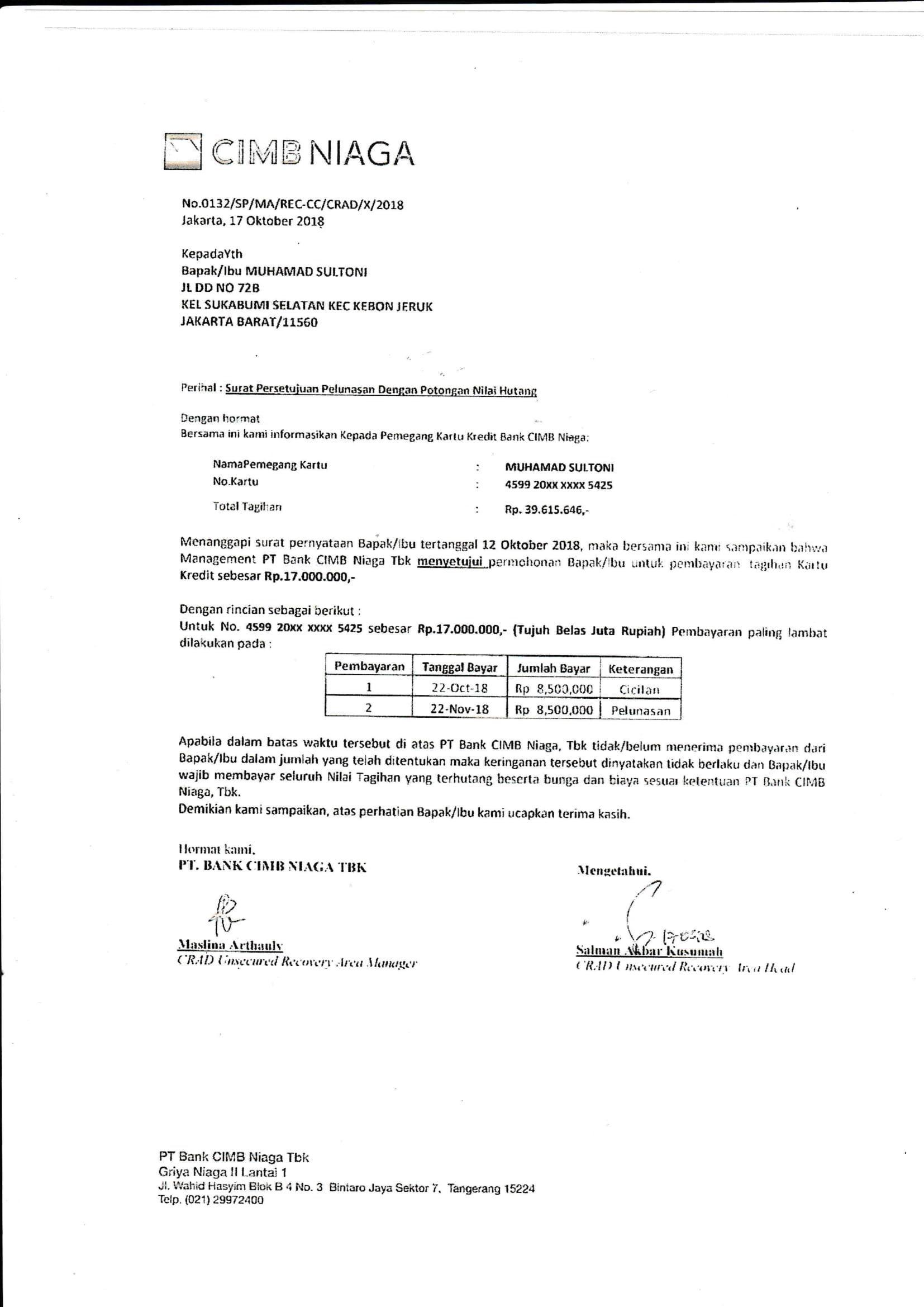 Contoh Surat Permohonan Keringan Pembayaran Kartu Kredit Kumpulan Surat Penting